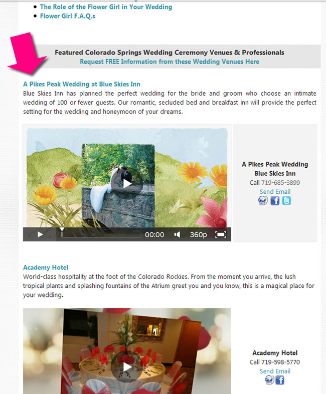 social media channel links and your ad banner in a topic category where brides go to read wedding planning tips and articles contextual ads work